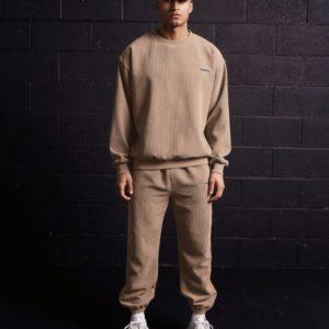 Купить онлайн мужской костюм из вельвета с рибаной (размер 48-58) бежевого цвета