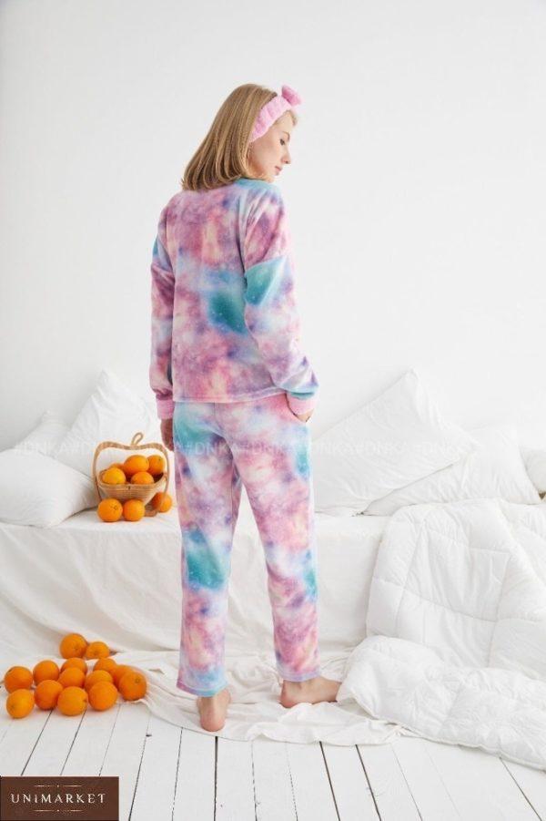 Купить выгодно женскую яркую плюшевую пижаму (размер 42-48) розовую