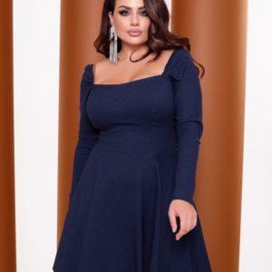 Заказать синее женское джинсовое платье с длинным рукавом (размер 42-52) онлайн