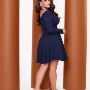 Купить на распродаже женское джинсовое платье с длинным рукавом (размер 42-52) синее