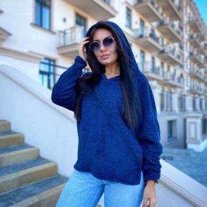 Купить онлайн худи плюш с капюшоном (размер 50-56) синего цвета для женщин