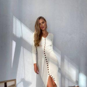 приобрести женское платье длинное на пуговицах из шерсти и вискозы по низкой стоимости