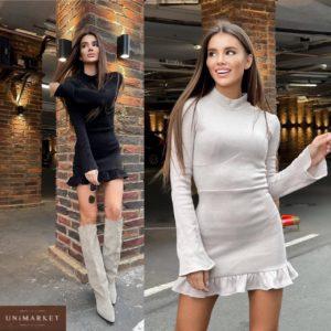 заказать женское платье из ангорской шерсти цвета мокко с длинным рукавом недорого